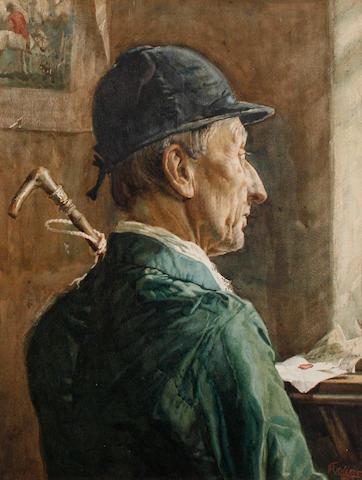 Frank Richards (British, 1863-1935) Portrait of a huntsman in profile