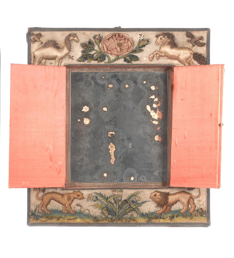 A needlework mirror with folding shutters English, circa 1660