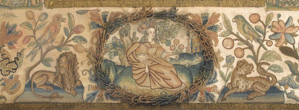 A needlework mirror English, circa 1670
