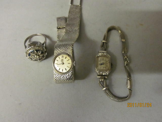 A lady's octagonal shaped bracelet watch,  (3)