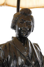 A Japanese bronze figure of lady street seller, adapted to a lamp base 19th century