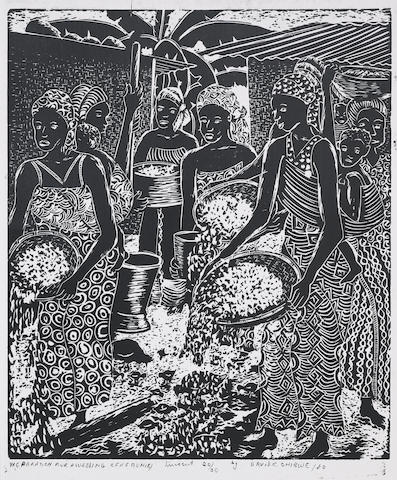 David Chibwe (Zambian) A set of twelve prints unframed