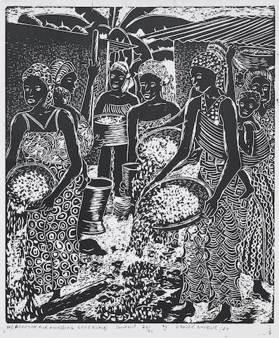 David Chibwe (Zambian) A set of twelve prints unframed