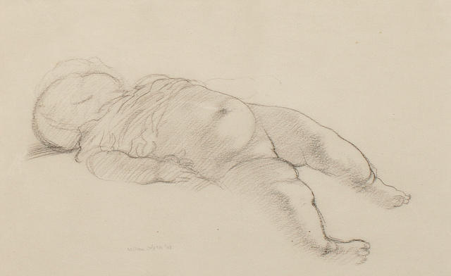 Sir William Orpen, R.A., H.R.H.A. (British, 1878-1931) Study of a sleeping baby