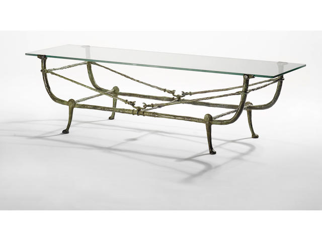 Diego Giacometti, Table Berceau, Seconde Version, circa 1965 patinated bronze and glass,