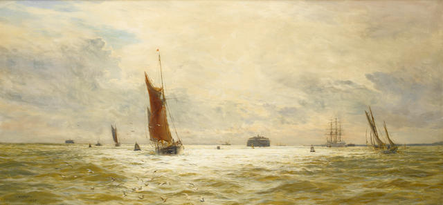 William Lionel Wyllie (British, 1851-1931) Fishing boats running home through Spithead at the end of the day