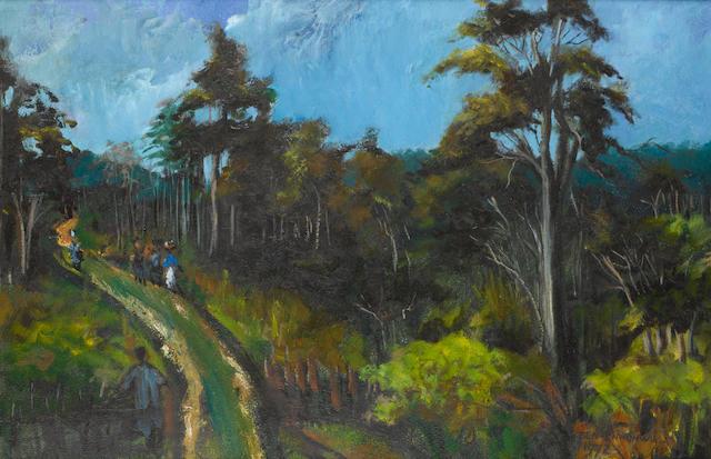 Ben (Benedict Chukwukadibia) Enwonwu, M.B.E (Nigerian, 1917-1994) Figures on a forest track
