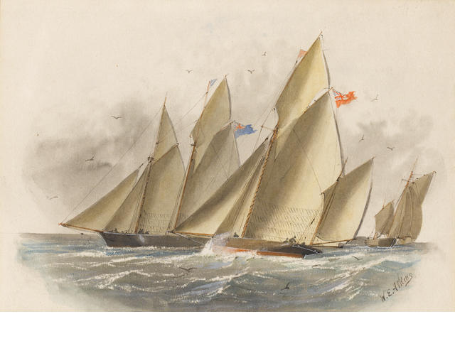 William Edward Atkins (British, 1842-1910) Yacht race ??????????????????