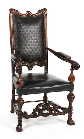 Nelson Interest: A Goodhall, Lamb & Heighway carved oak and walnut open armchair Bearing a copper plaque reading 'Manufactured from the oak and copper salved from Nelson's 'Foudroyant', Goodhall, Lamb & Heighway Ltd., Manchester'