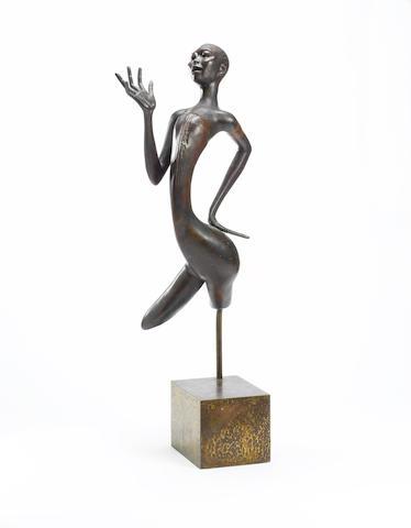 Ben (Benedict Chukwukadibia) Enwonwu, M.B.E (Nigerian, 1917-1994) Africa dances 96.5cm (38in) high.