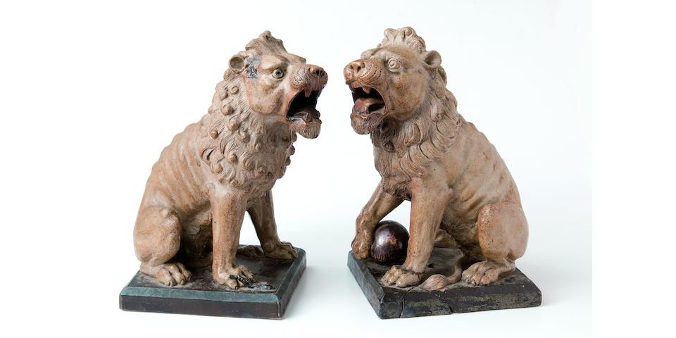 The Martin Brothers An Impressive Pair of Stoneware Lions, 1896-7