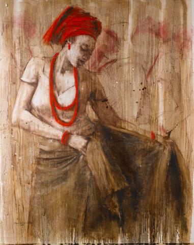 Nyemike Onwuka (Nigerian, born 1972) 'Just Before the Dance' unframed