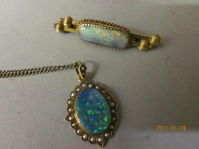 An Australian Victorian 15 carat gold opal brooch, (2)