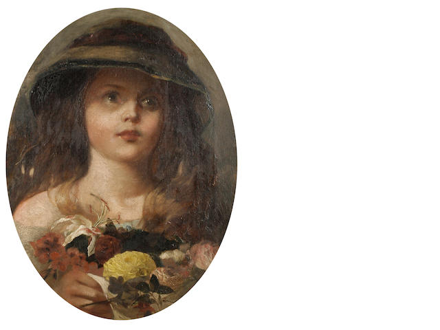 Follower of James John Hill (British, 1811-1882) Portrait of a girl with a bouquet