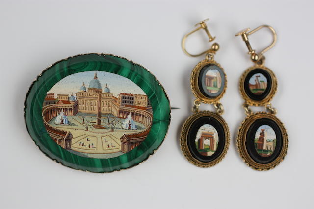 An oval micro mosaic brooch and pair of earpendants (2)