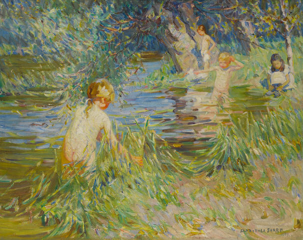 Dorothea Sharp (British, 1874-1955) Taking a dip 73.7 x 92.5 cm. (29 x 36 1/2 in.)