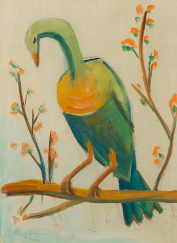 Maggie (Maria Magdalena) Laubser (South African, 1886-1973) A bird on a branch