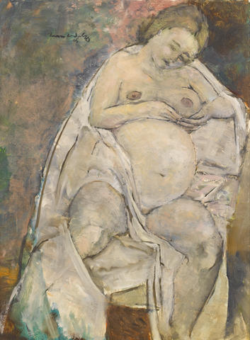 Jean Max Friedrich Welz (South African, 1900-1975) Pregnant nude