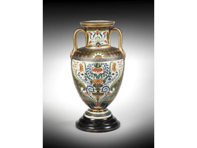 A Minton Pâte-sur-pâte amphora vase by Charles Toft
