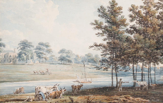 Edward Dayes (British, 1763-1804) The grounds of Oatlands, seat of the Duke of York
