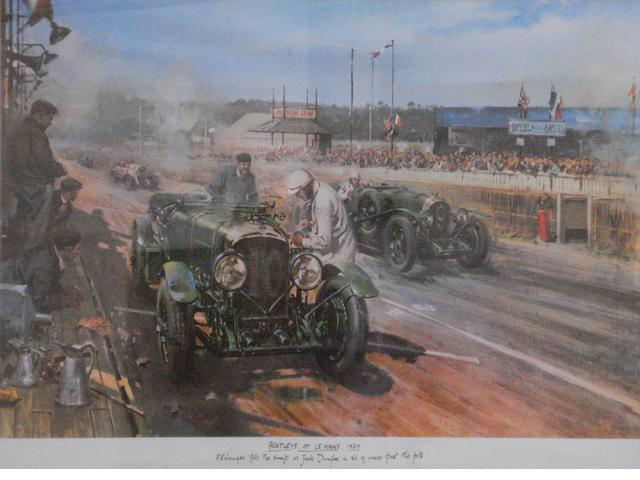 'Bentley at Le Mans 1929', a print after Terence Cuneo,