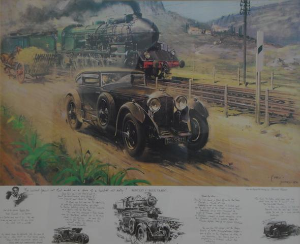 "'Bentley V ""Blue Train""', a print after Terence Cuneo,"