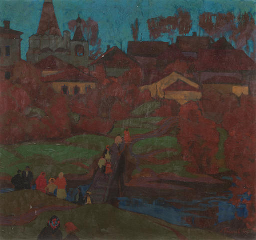 Russian picture with landscape and figures, 70cm x 70cm approximately, signed lower right