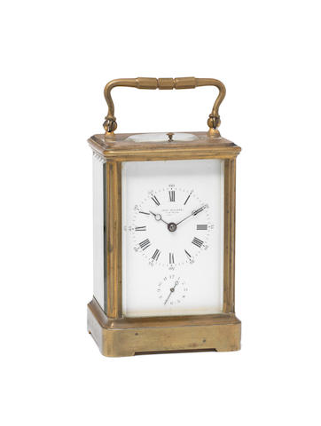 A late 19th century French corniche case carriage clock with repeat