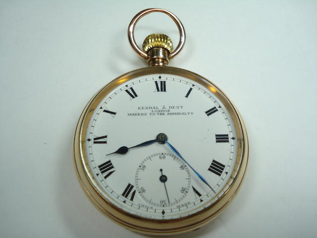 An 9ct gold open faced pocket watch, by Kendal & Dent of London, Chester 1924