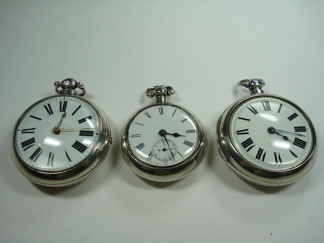 Three silver pair cased pocket watches