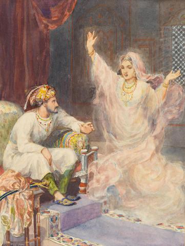 Archibald Herman Muller (German, 1878-1952) A Mughal Emperor startled by a female apparition