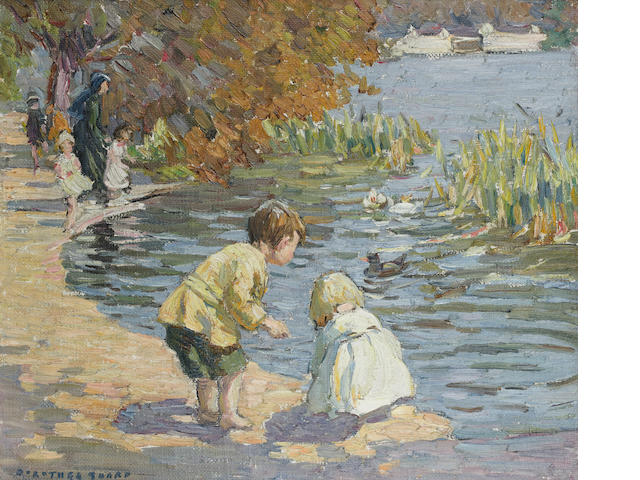 Dorothea Sharp (British, 1874-1955) At The Serpentine 38 x 45.5 cm. (15 x 18 in.)