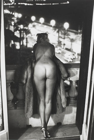 Helmut Newton (German, 1920-2004) Winnie at The Negresco, Nice, 1975 Paper 40 x 30.1cm (15 3/4 x 11 7/8in), image 33.7 x 23.1cm (13 1/4 x 9 1/8in).