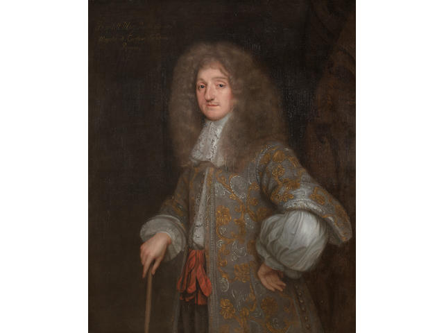 Circle of Henri Gascars (Paris 1635-1701 Rome) Portrait of Baptist May, three-quarter-length, in a silver embroidered coat and a white chemise, standing before a damask curtain