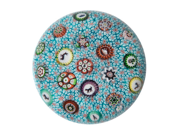 A rare Baccarat turquoise-blue carpet-ground paperweight, dated 1848