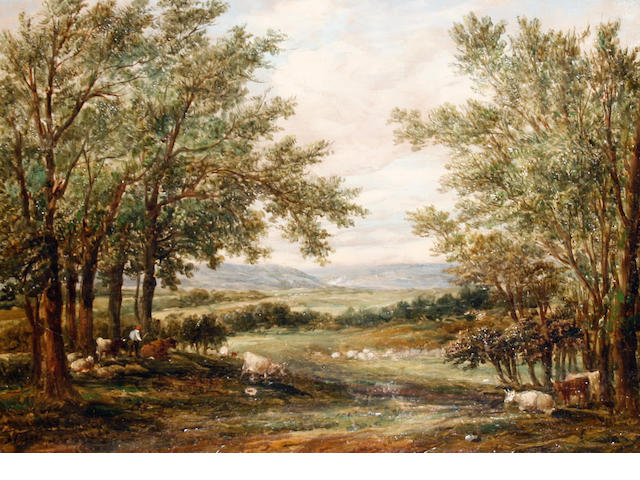 Alfred Vickers Snr. (British, 1786-1868) Cattle resting in an extensive landscape