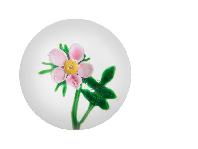 Clichy paperweight with a pink flower