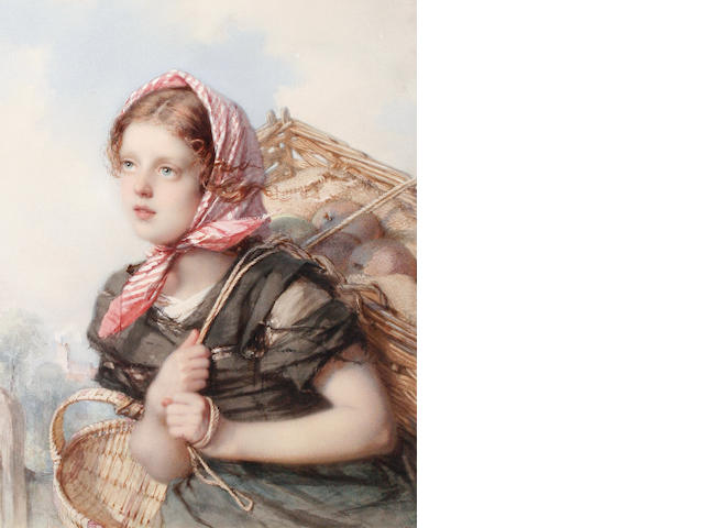 Guido Bach (German, 1828-1905) Portrait of young peasant girl