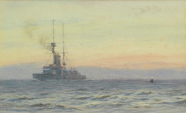 Alma Claude Burlton Cull (British, 1880-1931) H.M.S. Britannia passing the light-buoy at dusk