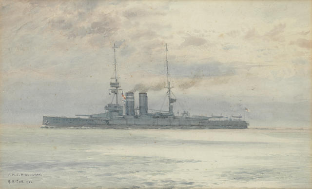 Alma Claude Burlton Cull (British, 1880-1931) H.M.S. Hindustan at sea