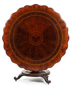A rare early Victorian yew-veneered, arbutus and mahogany tilt-top breakfast table, Killarney, Ireland, circa 1840
