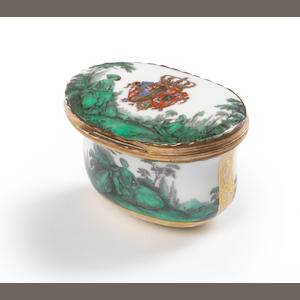 A Meissen box with Watteau green for Queen Marie Amalie Christiane circa 1745-47