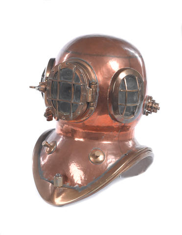 A two bolt diving helmet, 18in (46cm)high.