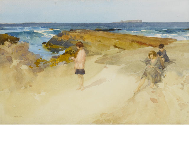Sir William Russell Flint (Scottish, 1880-1969) Farne Islands from near Bamborough [sic] 33 x 51 cm. (13 x 20 in.)