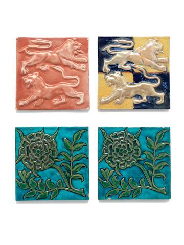 William De Morgan Four Relief Pattern Tiles, circa 1890