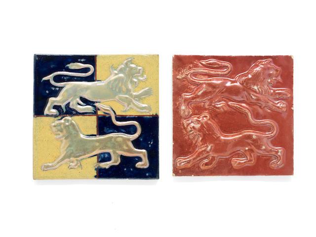 William De Morgan Two Relief Lion Tiles, 1898