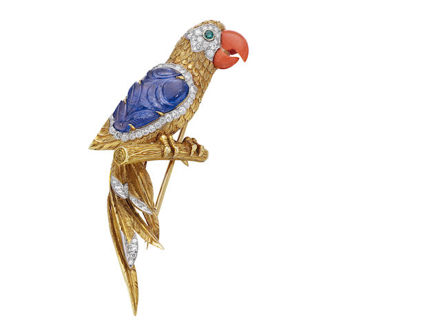 A multi-gem set parrot brooch, by Cartier,