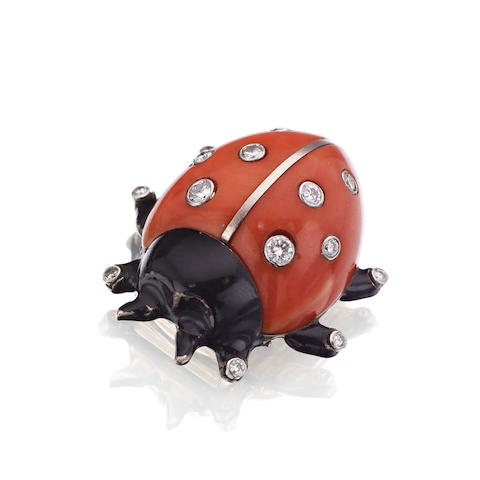 A coral, black lacquer and diamond ladybird clip brooch, by Cartier,