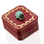 A turquoise, black lacquer and diamond ladybird clip brooch, by Cartier,