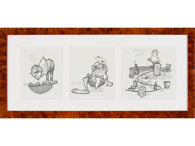 Rick Griffin: three cartoons, an introduction to skateboarding, 1960s,